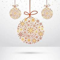 Abstract hanging snowflakes christmas ball background