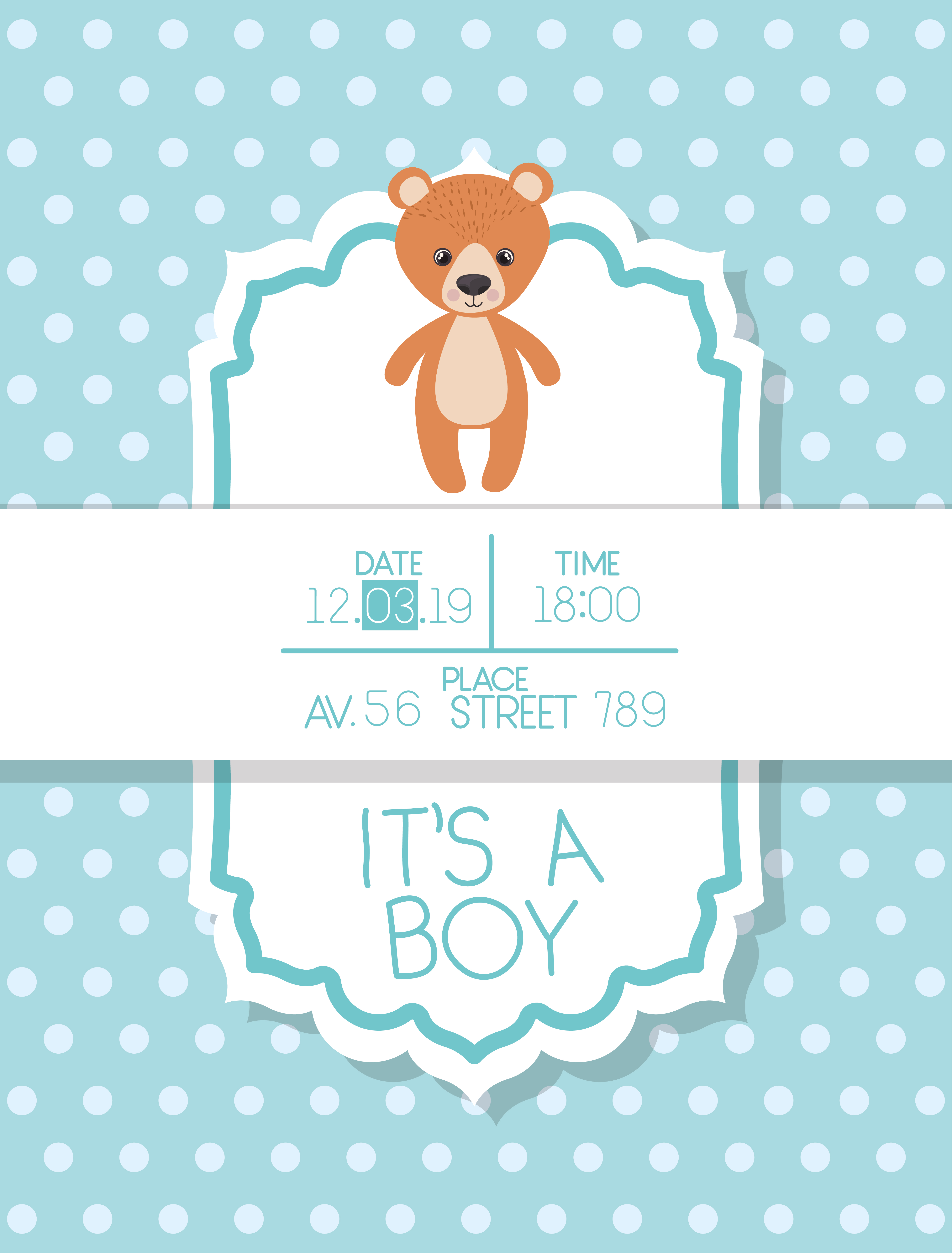 Its A Boy Baby Shower Card With Bear Teddy Download Free Vectors Clipart Graphics Vector Art