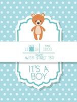 its a boy baby shower card with bear teddy