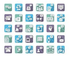 Message plat grandissime icon set