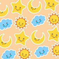 Sun and stars with faces pattern