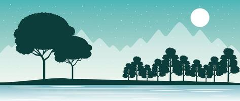 Moonlight River Scene  vector
