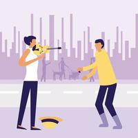Street performers in city vector