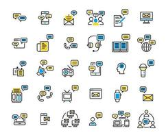 Message filled outline icon set vector