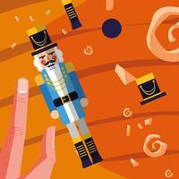 hand with nutcracker general toy icon vector