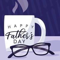 happy father day card with mug and eyeglasses