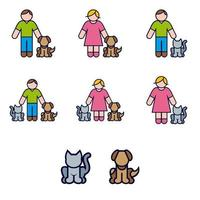 Color Icon Set of Pets and their Owners