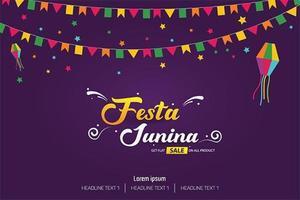 Festivalabdeckungs-Fahnen-Schablonendesign Festa Junina brasilianisches