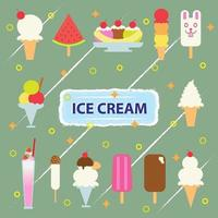 Vector illustration of collection of ice cream