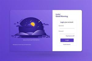 Login Form Landing Page Design Template Concept Vector Illustration