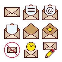 Set of Icons of Mailing Actions for Received Email Correspondence vector