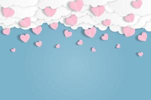 Pink heart fall down from blue sky.