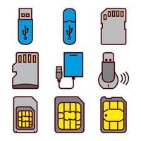 Drives Flash e conjunto de ícones de Smartphone Sim Cards