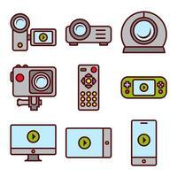 Dispositivos de gravação de vídeo e telas vetor