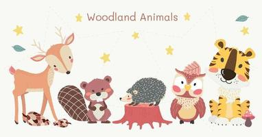 cute woodland animals clipart set, tiger, reindeer, owl, beaver, and hedgehog  vector