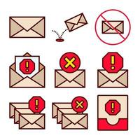 Set of Icons of Spam and Junk Emails  vector