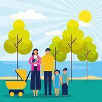 Familia feliz en el parque vector