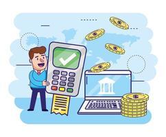 uomo con informazioni dataphone e computer con monete