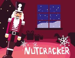 nutcracker soldier with tree christmas vector