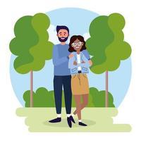 coppia donna e uomo con abiti casual