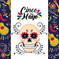mexican card with traditional skull decoration vector