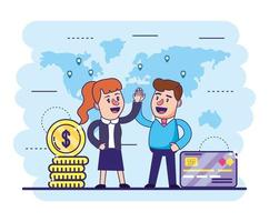 woman and man with credit card and coins