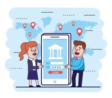 femme et homme avec smartphone et banque numérique