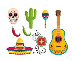 set traditional mexican decoration to event celebration vector