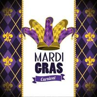 card with joker hat and emblem to mardi gras event vector