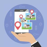 businessman with smartphone map location and houses property