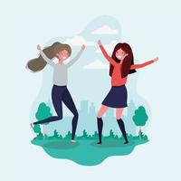 Friendship of girls cartoons design vector