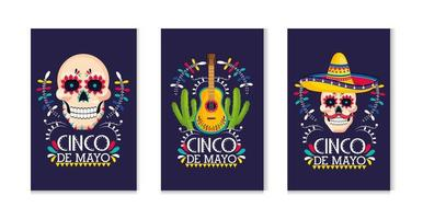 set traditional mexican cards to holiday event vector