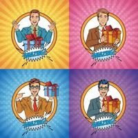 Pop art businessman cartoon set