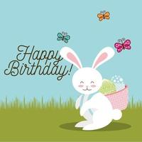 happy birthday card with bunny carrying basket easter eggs  vector