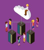 isometric people sitting on cloud and standing around servers
