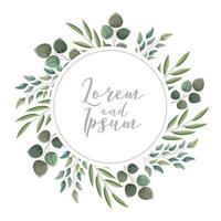 floral wreath leaves botanical card vector