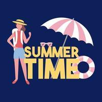 Sommerzeittext mit Touristen und Regenschirm