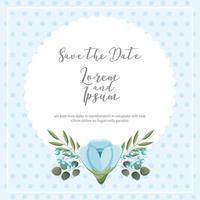 blaue Blumendekoration punktiert Hintergrundabwehr die Datumskarte