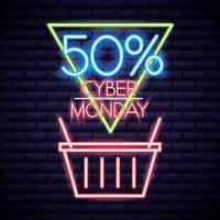 cyber monday shopping basket neon sign