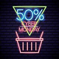 cyber monday shopping basket neon sign vector