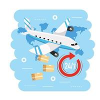 airplane transportation with boxes to delivery service
