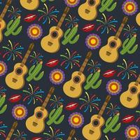 guitar with cactus plants and flowers pattern