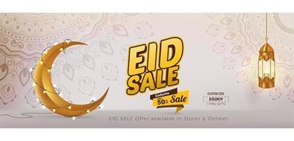 Venda 50 por cento Eid Mubarak banner vetor