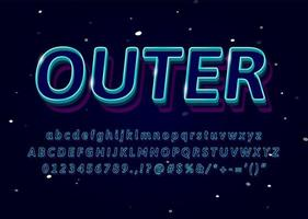3d outline typeface
