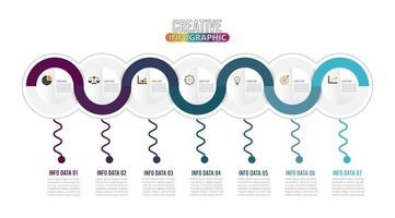 7 Parts infographic and marketing icons
