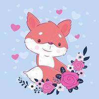 Renard de dessin animé mignon avec un bouquet de roses