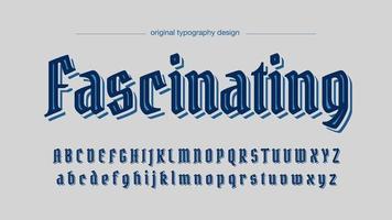 Blauer eleganter alter Deko-Typografie-Entwurf vektor