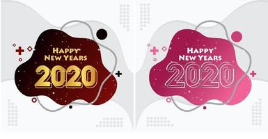 Feliz ano novo 2020 conjunto de fundo líquido vetor
