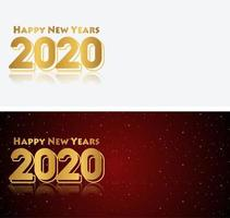 Set of happy new year 2020 red black and white banners vector