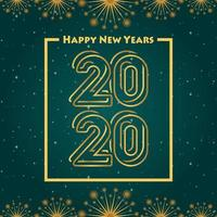Happy new year 2020 green gradation background vector